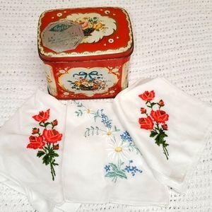 Vintage Victorian Biscuit Tin & Handkerchiefs